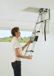 TELEZIP Loft Ladder is made of anodised aluminium, with a durable yet comfortable surface. The ladder is available in three different lengths, which can be simply adjusted for different ceiling heights. The loft ladder comes fully complete and can be quickly and easily fitted in the space over the hatch.     You just open the ceiling access hatch, let down the ladder holder, release the catch and pull down the ladder - all ready!  http://www.surespancovers.com/ladders-telezip.htm