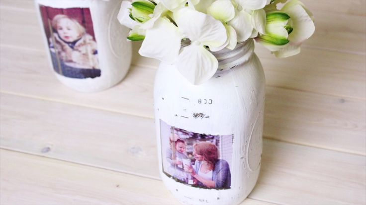 Turn a Mason Jar into Shabby Chic Photo Frames  https://www.djpeter.co.za