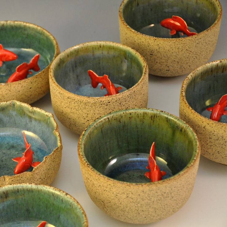 My koi tea bowl green via etsy chinoiserie japonisme for Fish bowl cups