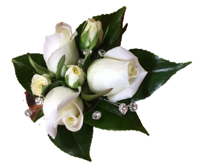 White spray roses & orchid wrist corsage https://bloominboxes.com.au/wrist-corsage-white-roses