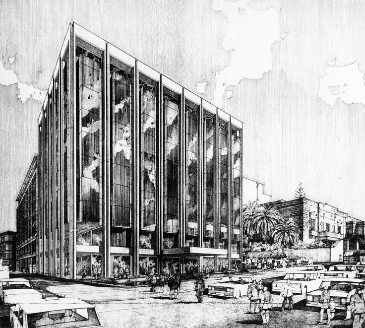 "FORMER ""ASTIR PALACE"" HOTEL  ON EL. VENIZELOU (PANEPISTIMIOU) & VAS. SOFIAS AVENUES, SYNTAGMA (COLLABORATION WITH C. DEKAVALLAS, EM. VOUREKAS, S. MOLFESIS & S. DIMOU) 1979  Drawing."