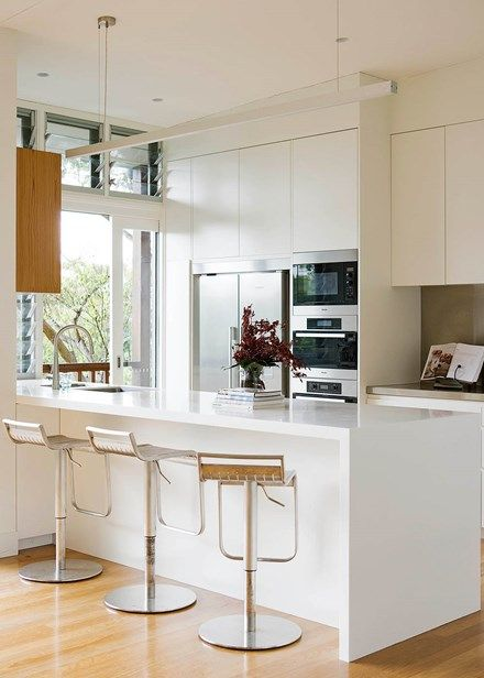All-white kitchen with slick finishes and superb storage - Home Beautiful