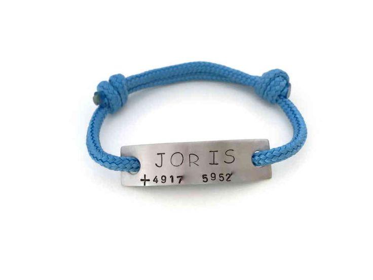 Armband Farbwahl Namen SOS-Telefonnummer Edelstahl Paracord