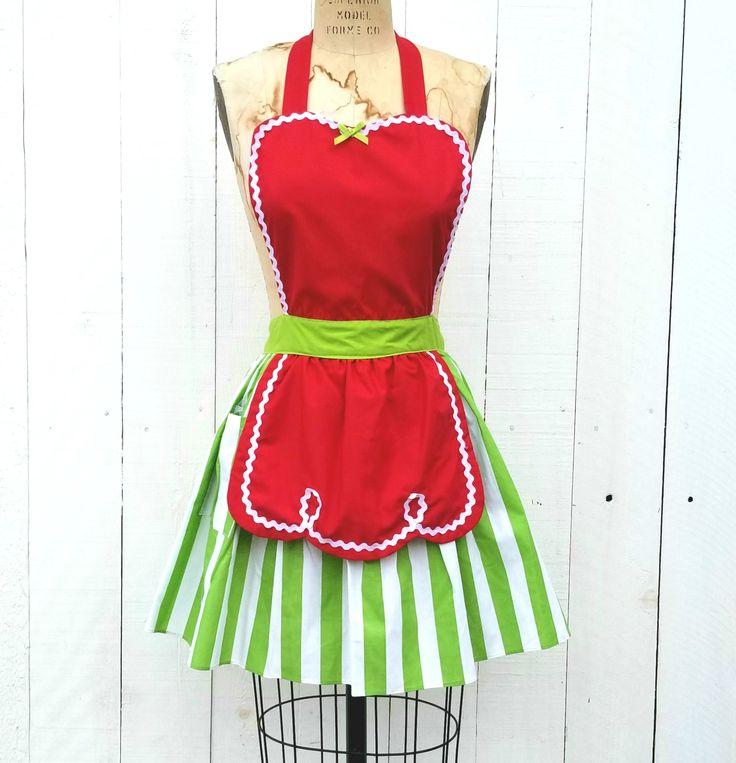 CHRISTMAS apron, womens apron, full apron, green with red apron, Santas Helper, Elf apron, gift, hostess gift, retro apron by loverdoversclothing on Etsy https://www.etsy.com/listing/559001268/christmas-apron-womens-apron-full-apron