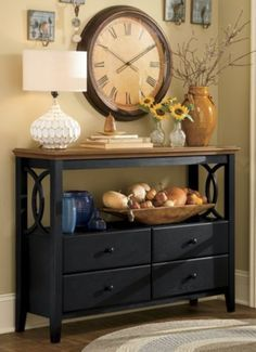 how to decorate a foyer table and a clock - Google Search