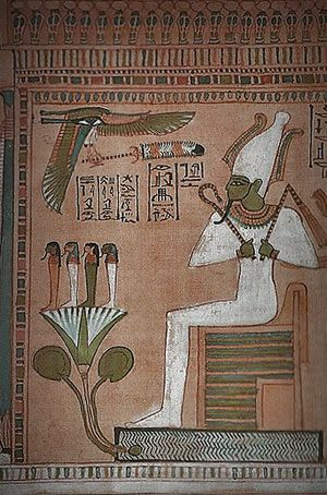 OSIRIS  God of the Underworld.  Os quatro filhos de Hórus sobre um lótus azul, diante de Osíris