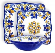 Le Cadeaux Seville White 12PC Melamine Outdoor Square Dinnerware Set Outdoor  Melamine Dinnerware Home