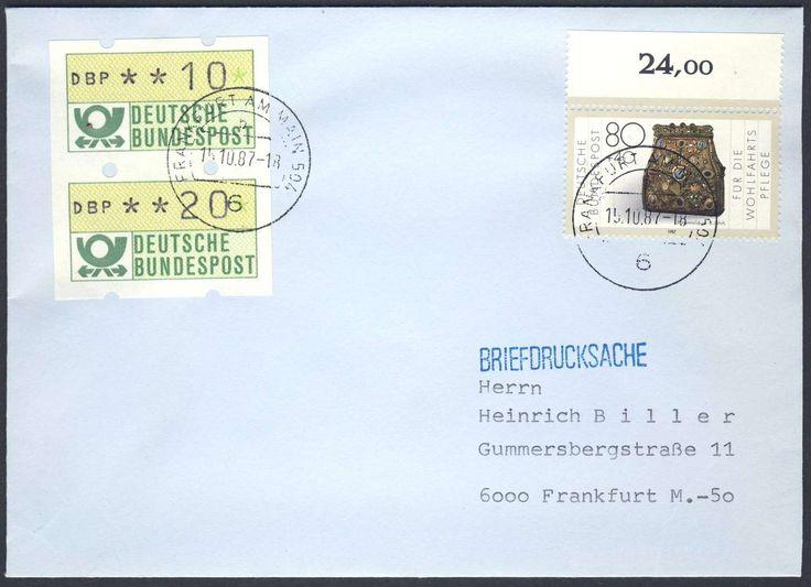 Germany, ATM 15.10.1987, Bund, Automatenmarken, ATM-Zusammendruck (10+20 Pfg.), mit Beifrankatur, auf portogerechter Briefdrucksache von Frankfurt. Price Estimate (8/2016): 15 EUR.