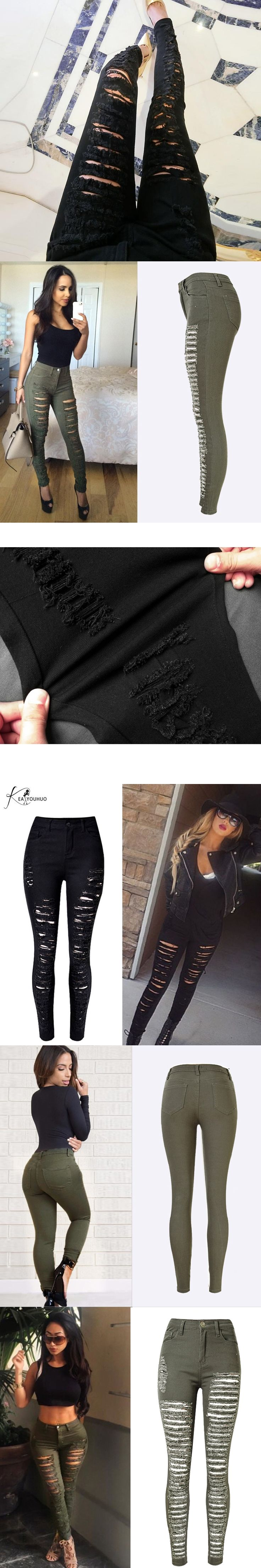 Skinny Pencil Pants Woman High Waist Ripped Jeans For Women Denim Pants Army Green White Black Elastic Trousers Women's Jeans