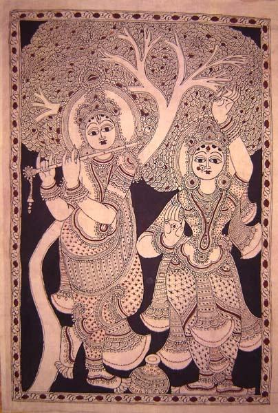 Radha-Krishna in Kalamkari