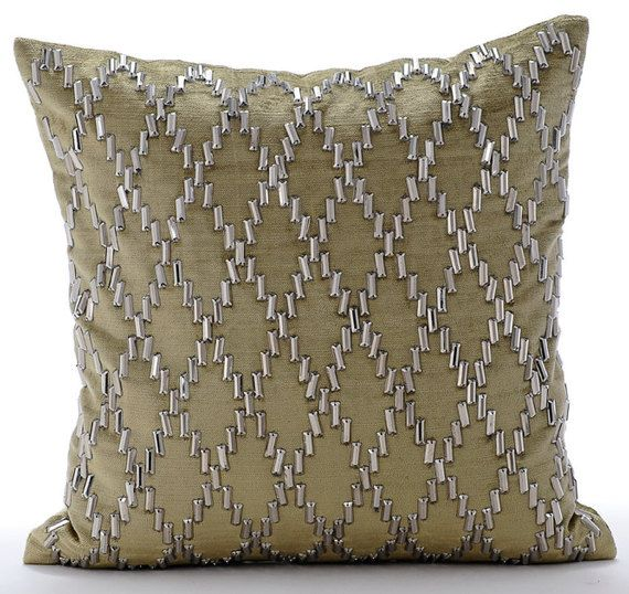 Rhinestone Jaal- Clear Crystals Embroidered Sage Green Velvet Pillow