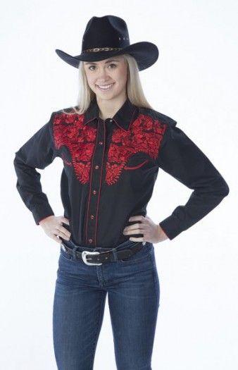 fe0df44c0c Compra en nuestra tienda cowboy online esta camisa negra de manga larga  para mujer con bordados