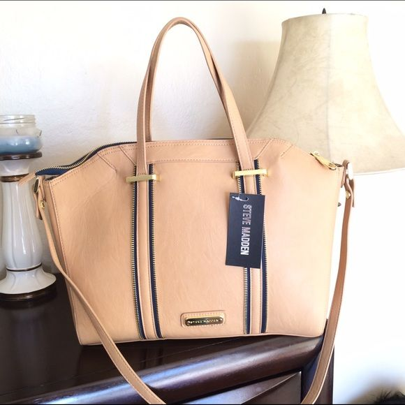 Steve Madden Satchel/Crossbody  in Camel New with tags... Very cute design with zippers. Lots of space. Steve Madden Bags