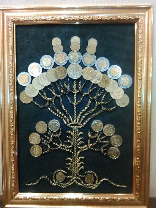 Картина, панно денежное дерево из монет, авторская работа Лилиана