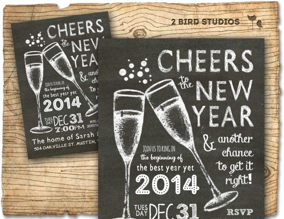 Cheers to a new year and another chance to get it right!! Ring in the new year with this trendy chalkboard fireworks and typography invitation!