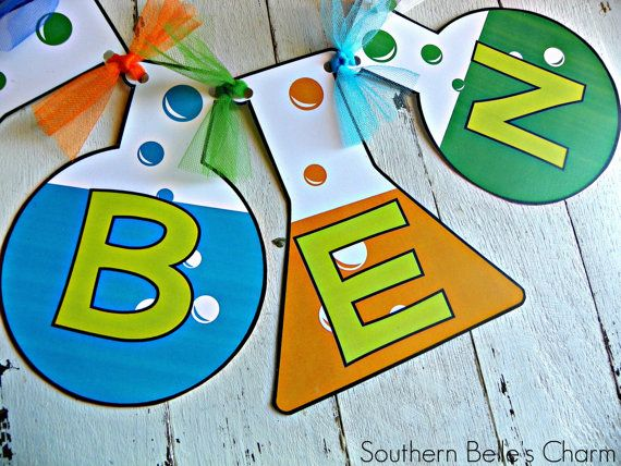 Mad Scientist Name Banner...Set of 1 Name by southernbellescharm, $25.00
