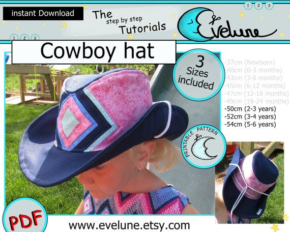 Cowboy hat pattern / English pattern / 3 sizes included / Baby / Kid / Toddler / sewing tutorial / Evelune