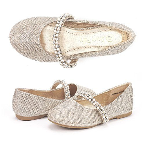 Dream Pairs SERENA-100 Mary Jane Casual Slip On Ballerina Flat (Toddler/ Little Girl) New Gold Size 10
