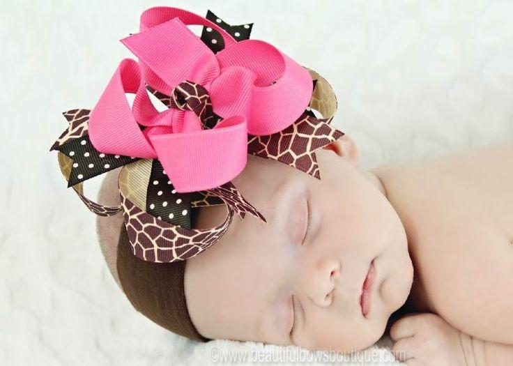 Hot Pink Giraffe Boutique Hair Bow or Headband