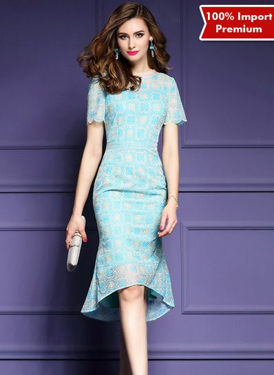 Dress Brukat Import Premium Elegant Style 607PR  | shopasista.com | Distributor baju import | distributor baju korea | grosir baju korea | grosir baju import | supplier baju korea tangan pertama | importir baju korea