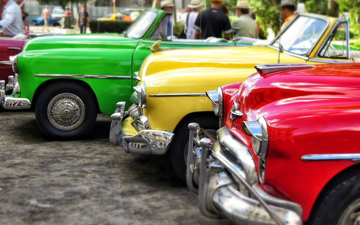壁紙をダウンロードする ハバナ, ヴィンテージ車, 4k, キューバ