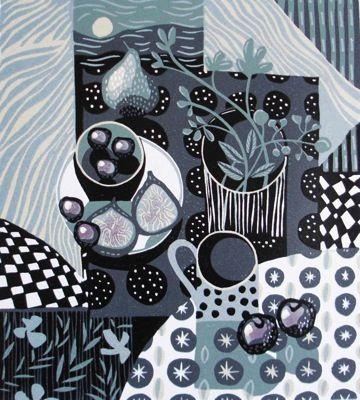 Blue Moon Linocut Mounted Print by Jane Walker