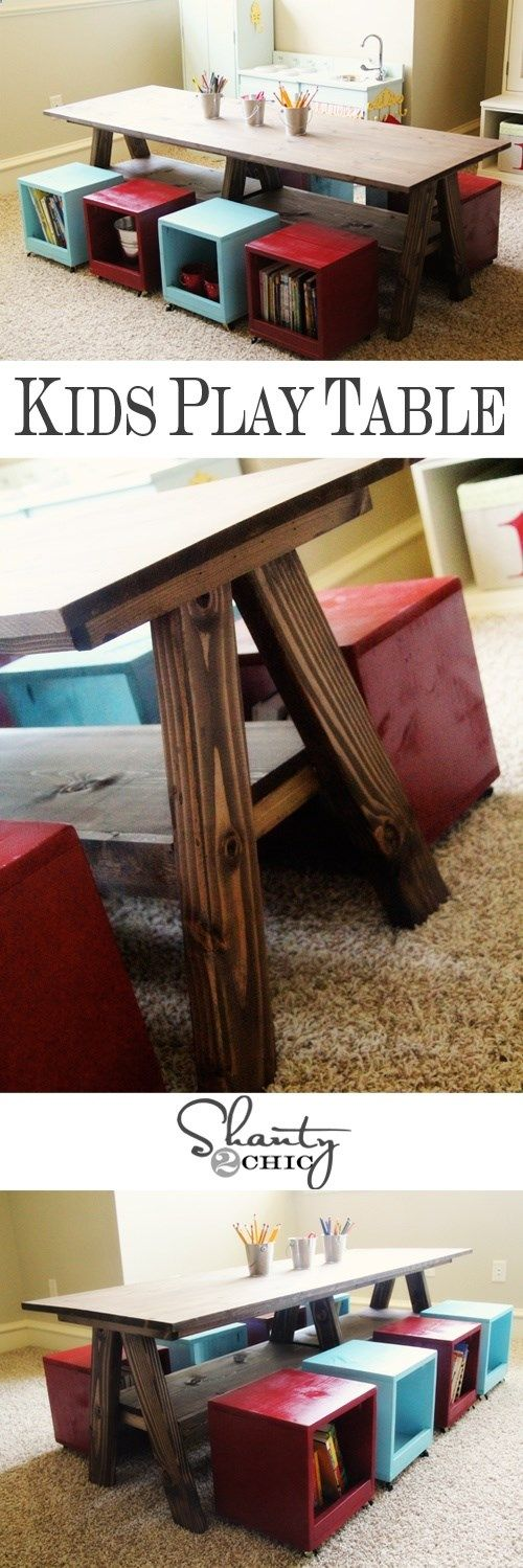DIY Play Table for the Playroom http://@Lyndsey Lake Lake Cowan - I saw your pin for the cute coffee table turned chalkboard kid table. But I thought these little chairs super cute and so much easier than the DIY ones on your pin. Not the table - just the chairs!!