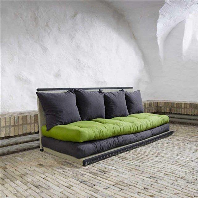 Canapé lit design Constance ATYLIA : prix, avis & notation, livraison. Le canapé lit Constance a plusieurs utilités. En canapé simple canapé d'angle ou lit deux personnes c'est un meuble mutli-fonctions très pratique. FABRIQUE EN EUROPE - GARNATIE 2 ANS. - Canapé lit comprenant deux matelas. - Matière: 100% coton. - Dimensions des matelas : 70 x 200 x 12 cm. - Dimensions des tatamis : 80 x 200 x 6 cm. - Epaisseur des matelas avec les tatamis : 36 cm. - 4 coussins inclus.