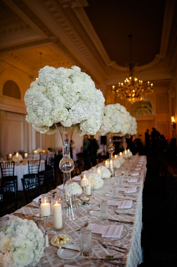 Bridal Party Seating At Estate Table With Tall Vases Of All White Florals Flowers By Jade Lee