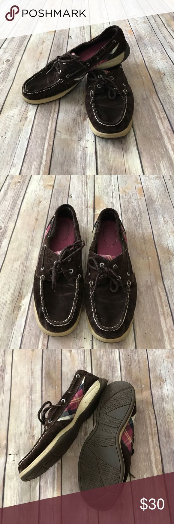 🎉Sale🎉Sperry plaid boat shoes Sperry Top-Sider boat shoes in EUC. These are a chocolate brown suede with pink plaid, and have very little wear on them. Make an offer or bundle and save! Sperry Top-Sider Shoes