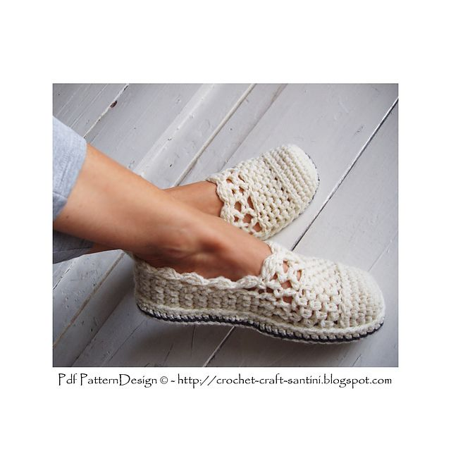 Lacey Wool Crochet Slipper Basics with optional Crochet-Soles attached as last! Pdf-pattern available.