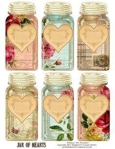 Jardim Vintage de coisas efêmeras: Free Printable - Jar of Hearts Marcações