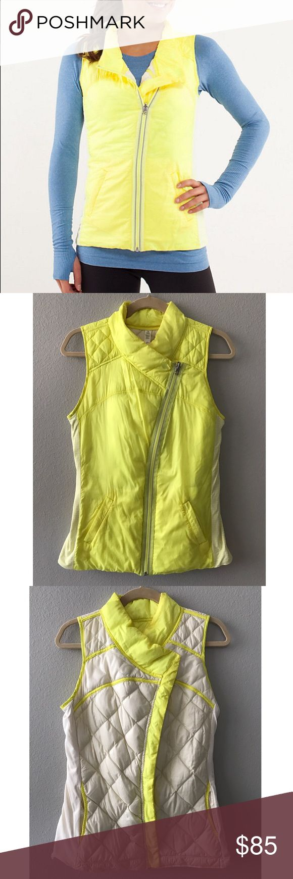 Lululemon what the fluff reversible vest Like new with very little wear. A little hint of makeup on inside collar that can be removed (see last image) otherwise in like new condition. Really warm with goose down but not bulky so it's perfect for laying over another jacket or fleece or under a coat. Great for hiking and running! Side panels are stretchy rulu fabric, makes for a comfy/great fit. Originally worn with half zip - see other listing. lululemon athletica Jackets & Coats Vests
