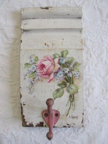 OMG-ORIGINAL-Christie-REPASY-ROSE-PAINTING-on-Old-Architectural-WALL-HANGER-Hook