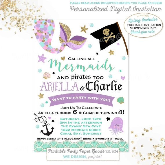 Mermaid And Pirate Birthday Invitation Sibling Mermaid & Pirate Invitation Sibling Girl Boy Combined Birthday Invite Mermaid Pirate Party