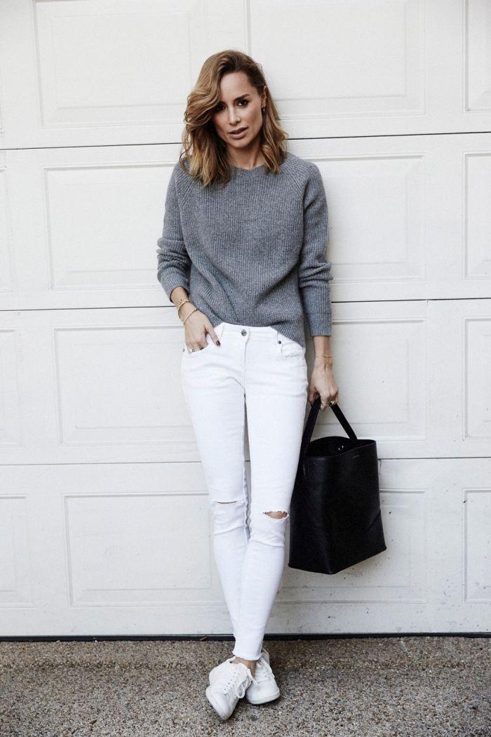 Les 25 meilleures id es de la cat gorie tenue en jean - Tenue jean blanc ...