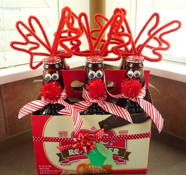 Pop bottle reindeer gifts-....Pinner said.. I made these last year and they were a hit. For younger kids we used the plastic smaller bottles.