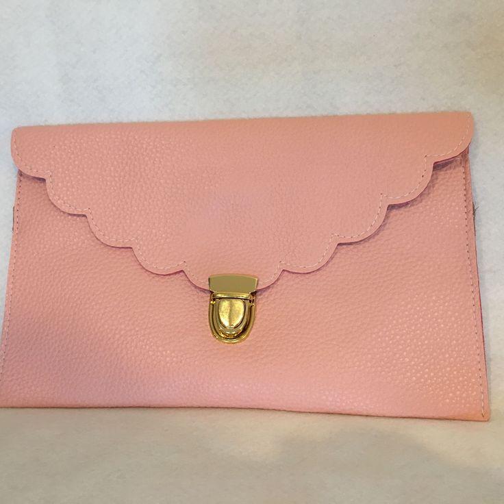 Personalized Clutch, Custom Clutch, Monogrammed Clutch, Light Pink Clutch, Scallop Clutch, Envelope Clutch