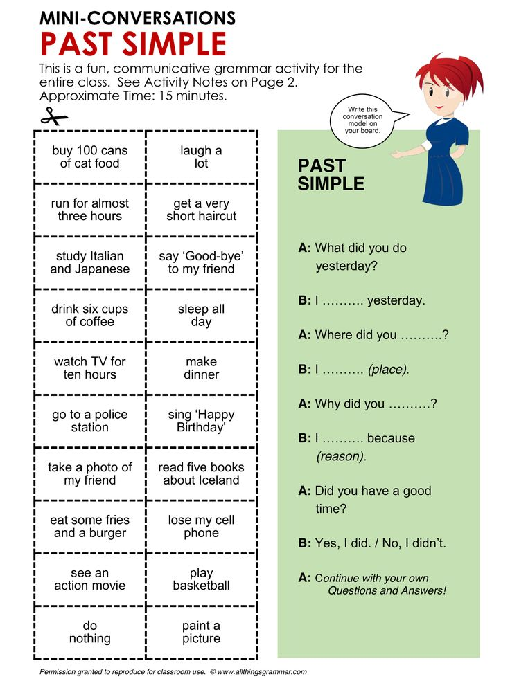English Grammar, Conversation Practice Activity PAST SIMPLE, Mini-Conversations, Grammar Focus Past Simple (Regular and Irregular Verbs) http://www.allthingsgrammar.com/past-simple.html