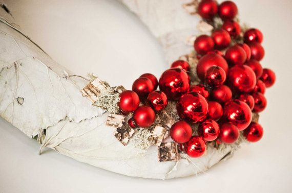 Christmas wreath with red  ornaments birch bark grey by florasense, $38.00