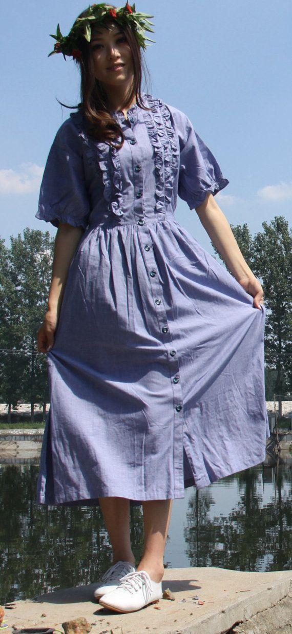 lino algodón maxi clollar vestido largo retro clásico por dongli