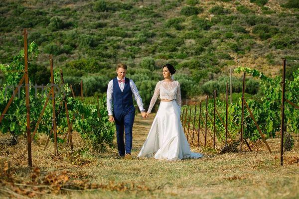 Bride & groom take a walk through the countryside together - amazing photo #weddingphotos