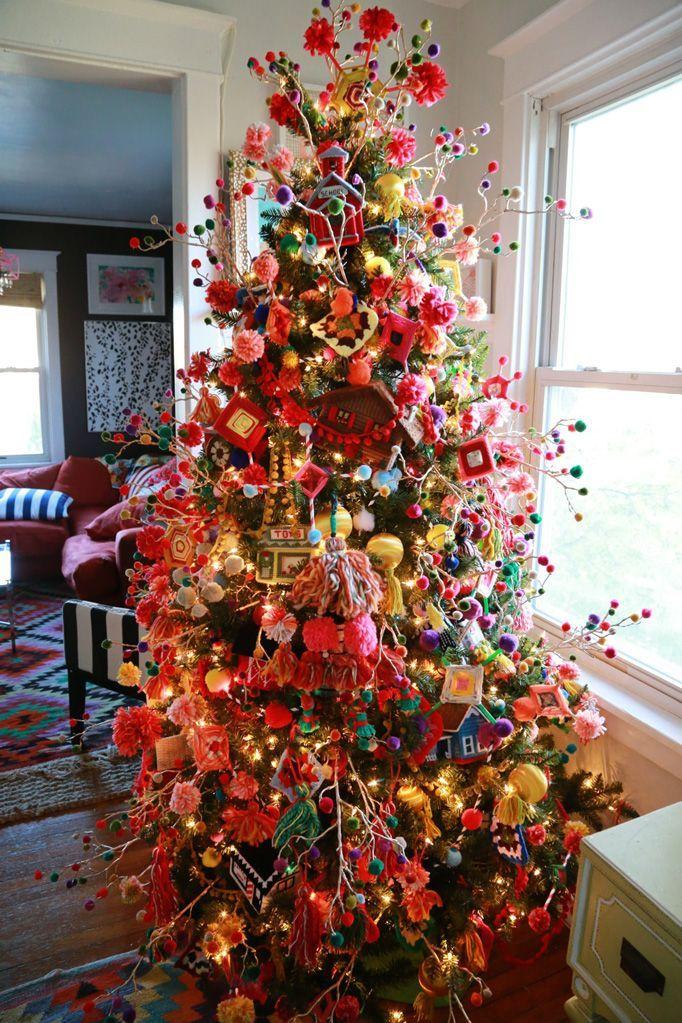 Bohemian Funk Granny Chic Dream Tree - Aunt Peaches. Christmas decor inspiration. Please choose cruelty free, go vegan!