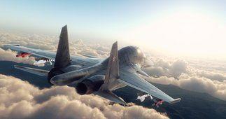 avião de caça su-34, as nuvens, tornando