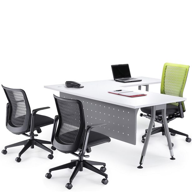 Vee Executive Radial Desk - The Vee Executive Radial office desk features an internal radial corner. The Vee Desk is a functional and versatile office desking solution. The desk has clean and functional lines because of its angled leg detail. It is custom made and available in a combination of sizes and designs that are limitless to suit any office environment. Vee can be used as a freestanding executive desk or combined with our range of contract workstation screens.