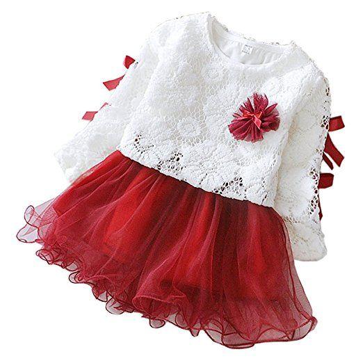 DORAMI 2 - piece Baby Girls Long Sleeve Princess Flower Dress: Clothing