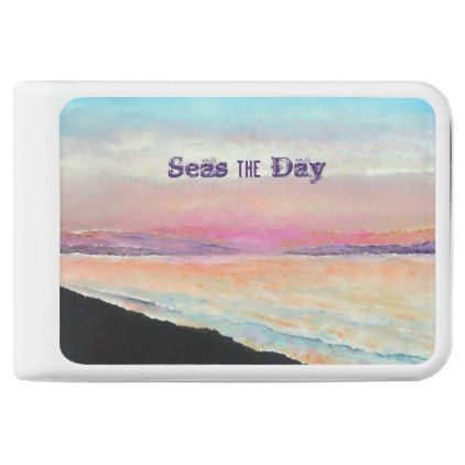 Seas The Day Beach Sunset In Painted In Pastels Power Bank - diy cyo customize create your own personalize
