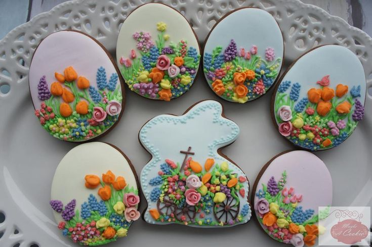Easter eggs with spring flowers, decorated cookie set by Maybe a Cookie, posted on Cookie Connection