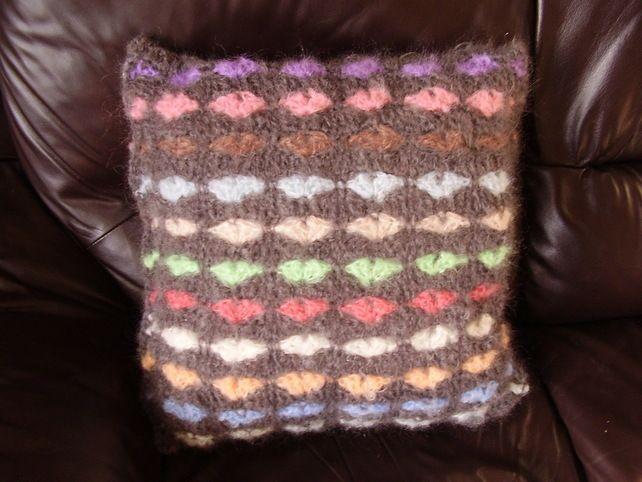Grey Crochet Mohair Heart Cushion £15.00