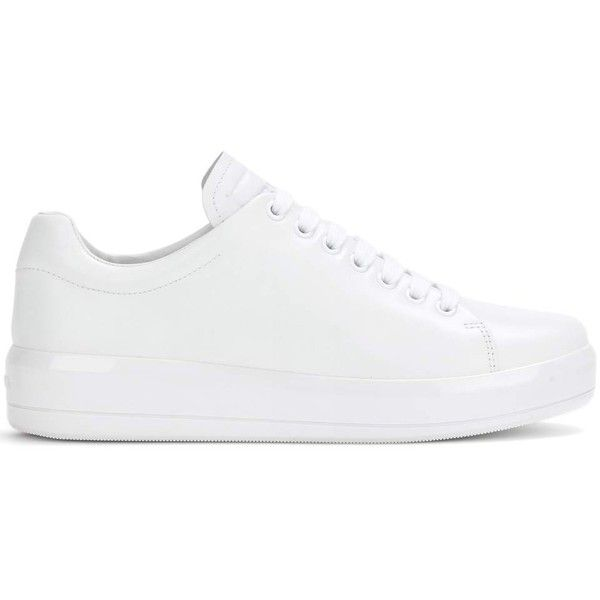 PRADA Leather Sneakers (1.860 BRL) ❤ liked on Polyvore featuring shoes, sneakers, prada sneakers, white lace up sneakers, white platform sneakers, white platform shoes and studded lace-up wedge sneakers